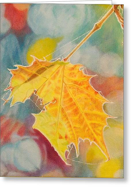 Bokeh Paintings Greeting Cards - Bokeh - Hanging Maple Leaf Greeting Card by Grant Ham