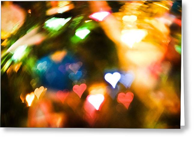 Photo Art Gallery Greeting Cards - Bokeh Hearts Greeting Card by Colleen Kammerer