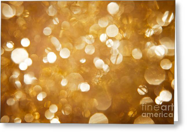 Twinkle Greeting Cards - Bokeh in shimmering gold Greeting Card by Wolfgang Steiner