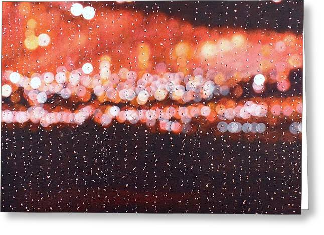 Bokeh Paintings Greeting Cards - Bokeh - Rainy Night on Mercer Street Greeting Card by Grant Ham
