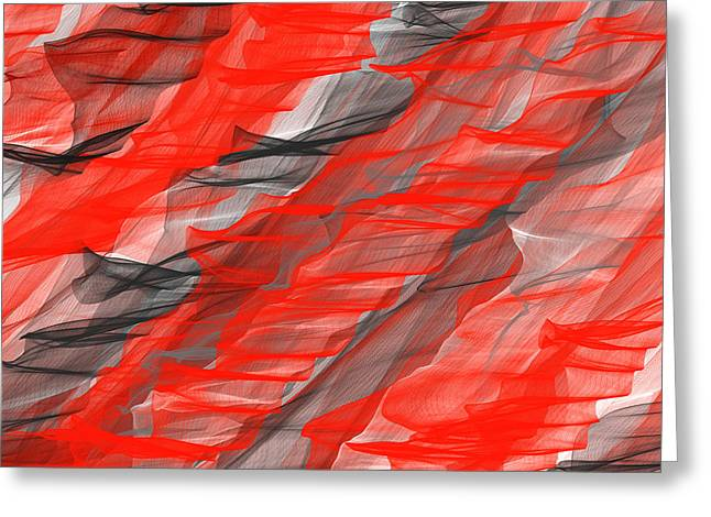 Red Art Greeting Cards - Bold And Dramatic Greeting Card by Lourry Legarde