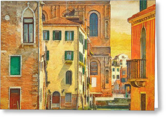 Square Format Greeting Cards - Bold Color of Venice by L Wright Greeting Card by L Wright