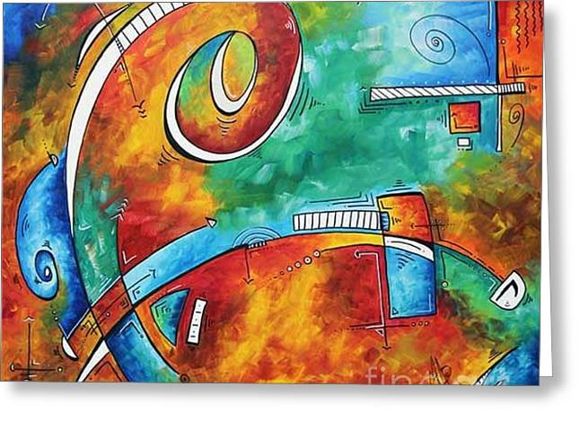 Licensor Greeting Cards - Bold Colorful Abstract PoP Art Original Contemporary Painting by Megan Duncanson Fire and Ice Greeting Card by Megan Duncanson