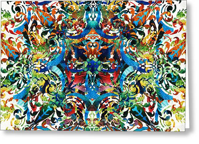 Bold Pattern Art - Color Fusion Design 8 By Sharon Cummings Greeting Card by Sharon Cummings