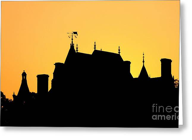 Boldt Castle Silhouette Greeting Card by Olivier Le Queinec