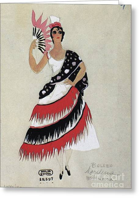 Fashion Design Drawings Greeting Cards - Bolero Costume Greeting Card by Granger
