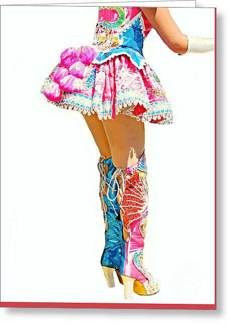 Bolivian Dancer Greeting Card by Diana Angstadt