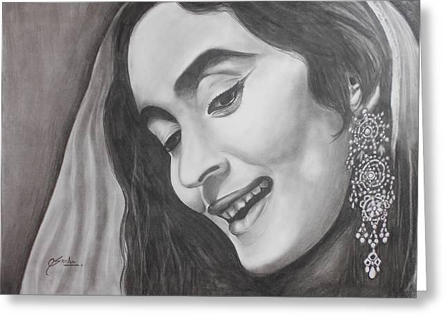 Bollywood Beauty Nutan Greeting Card by Sneha Choudhary
