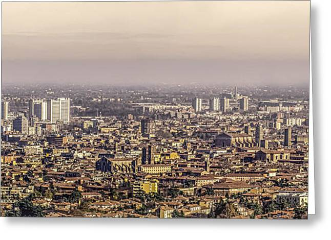 Bologna Aerial View Canvas Greeting Card by Luca Lorenzelli