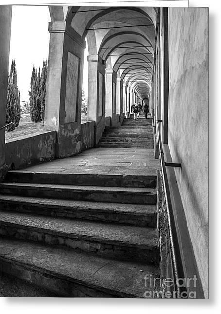 Bologna Canvas - Stairways Arcadesto San Luca Prints  Greeting Card by Luca Lorenzelli