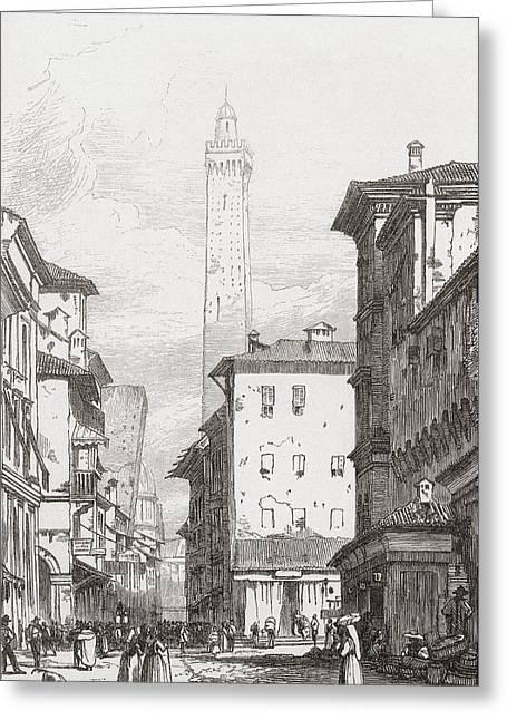 Two Towers Greeting Cards - Bologna, Northern Italy In The Early Greeting Card by Ken Welsh