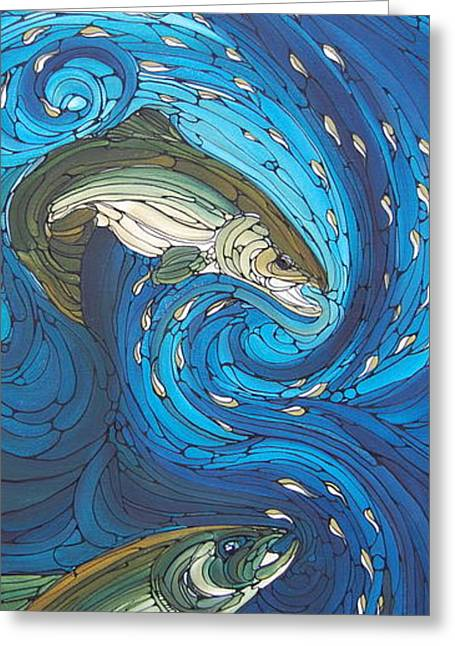 Blue Green Wave Greeting Cards - Bolt Greeting Card by Tammie Hunter