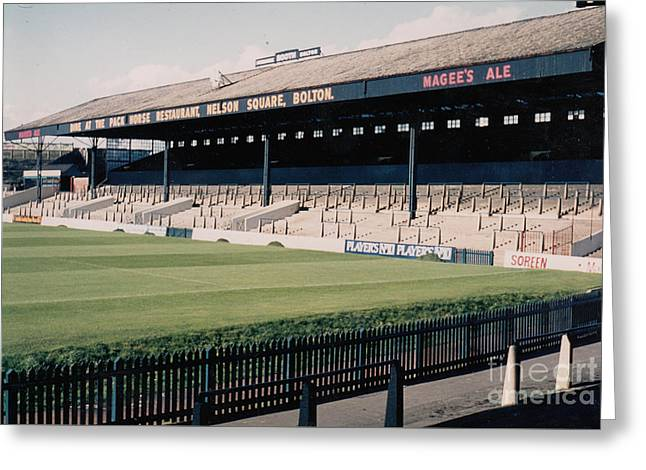 Reebok Greeting Cards - Bolton Wanderers - Burnden Park - East Stand Darcy Lever 1 - September 1969 Greeting Card by Legendary Football Grounds