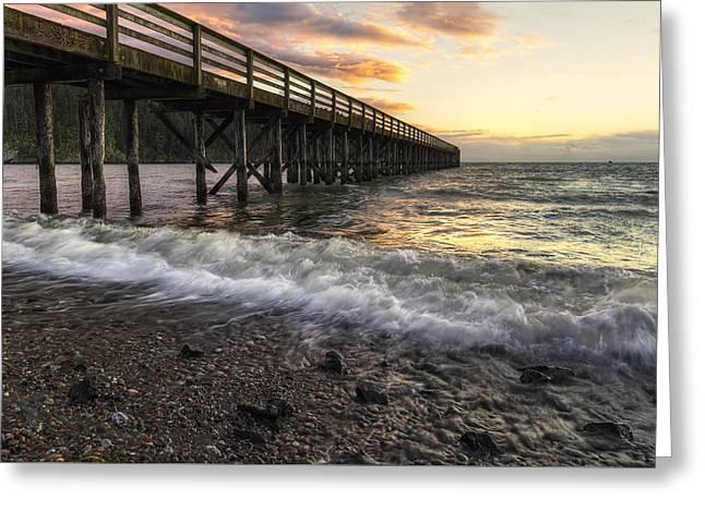 Juan De Fuca Greeting Cards - Bowman Bay Sunset 2 Greeting Card by Mark Kiver