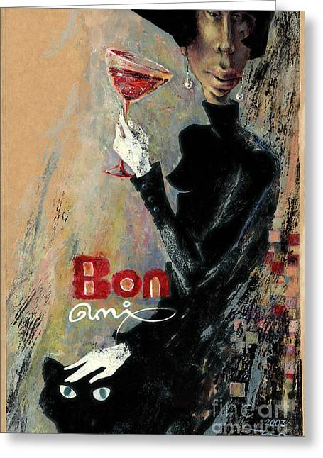 Red Cat Wine Greeting Cards - Bon ami Greeting Card by Una Lune