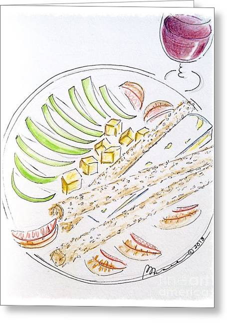 Wine Sipping Drawings Greeting Cards - Bon Appetit  Greeting Card by Barbara Chase