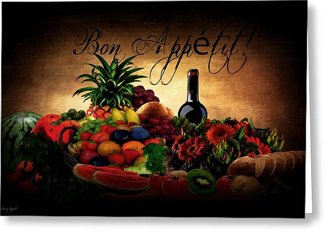 Fruit And Wine Greeting Cards - Bon Appetit Greeting Card by Lourry Legarde