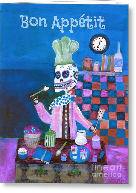 Painted Recipes Greeting Cards - Bon Appetit Day of the Dead Greeting Card by Wild Colors