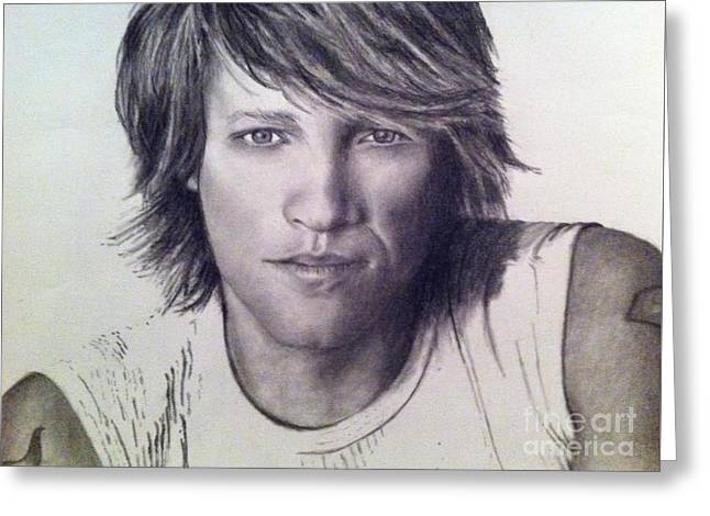 80s Greeting Cards - Bon Jovi Greeting Card by Beth Beam