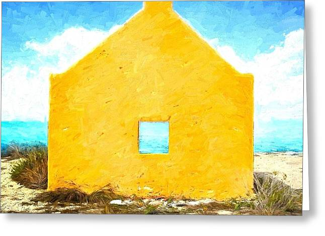 Slaves Mixed Media Greeting Cards - Bonaire Slave Hut Greeting Card by Gary Guthrie