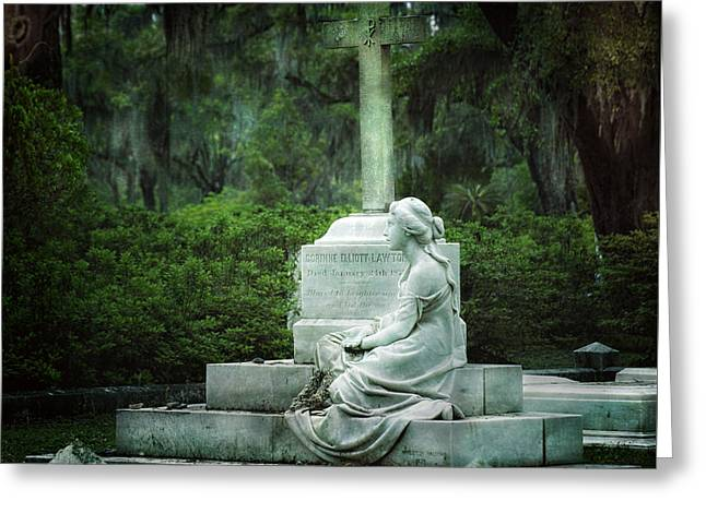 Beauty Mark Greeting Cards - Bonaventure Cemetery Statue Greeting Card by Mark Andrew Thomas