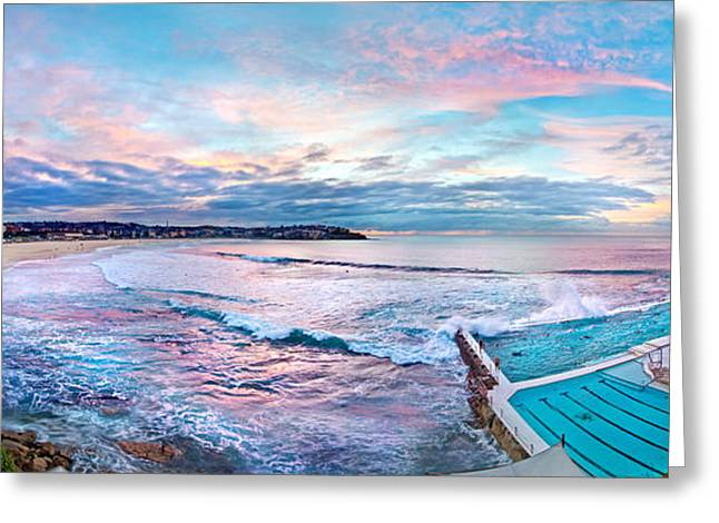 Panoramic Ocean Photographs Greeting Cards - Bondi Beach Icebergs Greeting Card by Az Jackson