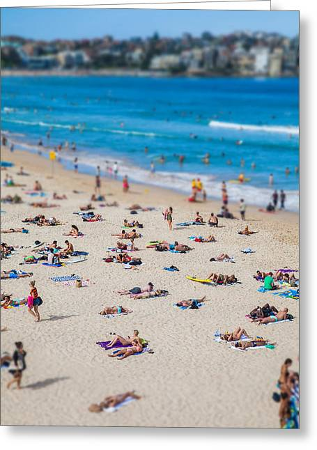 Tilt Greeting Cards - Bondi People Greeting Card by Az Jackson