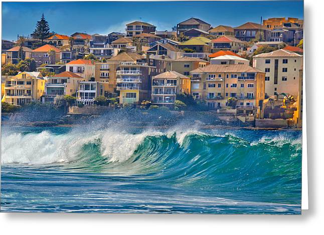 Swell Greeting Cards - Bondi Waves Greeting Card by Az Jackson