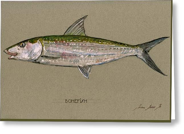 Bonefish Greeting Card by Juan  Bosco
