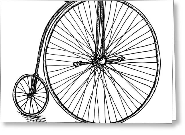 Spokes Drawings Greeting Cards - Boneshaker Bicycle Greeting Card by Karl Addison