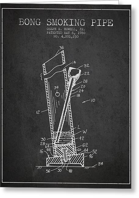 Dope Greeting Cards - Bong Smoking Pipe Patent 1980 - Charcoal Greeting Card by Aged Pixel