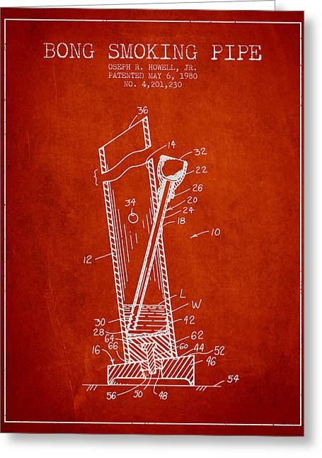 Dope Greeting Cards - Bong Smoking Pipe Patent 1980 - Red Greeting Card by Aged Pixel