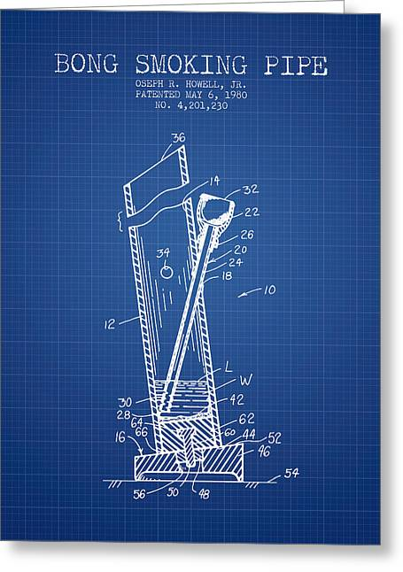Dope Greeting Cards - Bong Smoking Pipe Patent1980 - Blueprint Greeting Card by Aged Pixel
