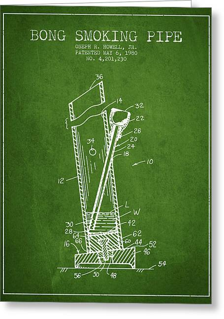 Dope Greeting Cards - Bong Smoking Pipe Patent1980 - Green Greeting Card by Aged Pixel