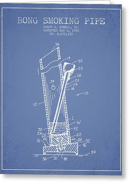 Dope Greeting Cards - Bong Smoking Pipe Patent1980 - Light Blue Greeting Card by Aged Pixel