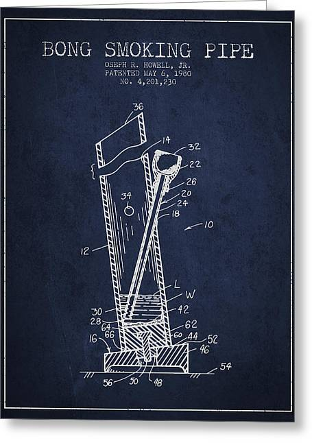 Dope Greeting Cards - Bong Smoking Pipe Patent1980 - Navy Blue Greeting Card by Aged Pixel