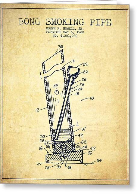Dope Greeting Cards - Bong Smoking Pipe Patent1980 - Vintage Greeting Card by Aged Pixel