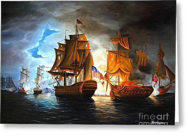 Battle Greeting Cards - Bonhomme Richard engaging The Serapis in Battle Greeting Card by Paul Walsh