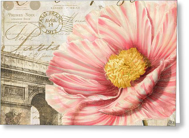 Rose Tower Greeting Cards - Bonjour I Greeting Card by Mindy Sommers