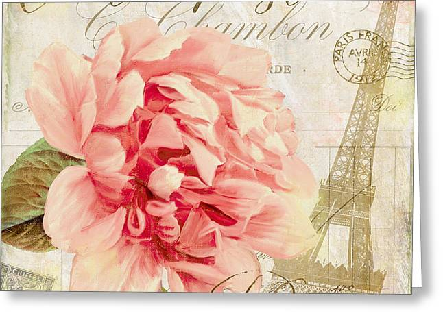 Rose Tower Greeting Cards - Bonjour II Greeting Card by Mindy Sommers