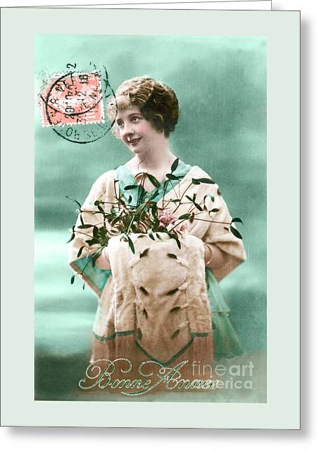 Bonne Annee Vintage Woman Greeting Card by Delphimages Photo Creations