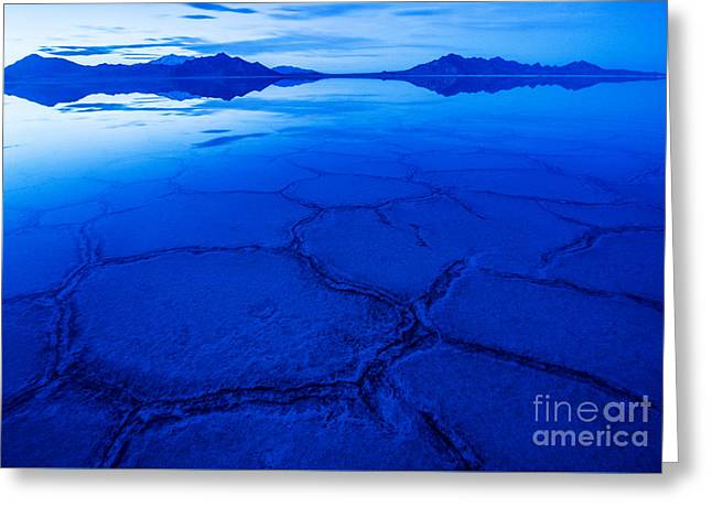 Glass Table Reflection Greeting Cards - Bonneville Salt Flats in Winter - Utah Greeting Card by Gary Whitton