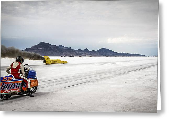 Salt Flat Images Greeting Cards - Bonneville Speed Week 2012 Greeting Card by Holly Martin