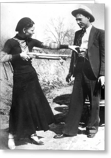 Fedora Greeting Cards - Bonnie And Clyde, 1933 Greeting Card by Granger