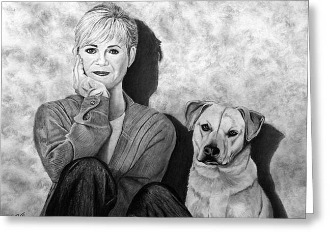 Dog Sketch Greeting Cards - Bonnie Hunt and Charlie Greeting Card by Peter Piatt