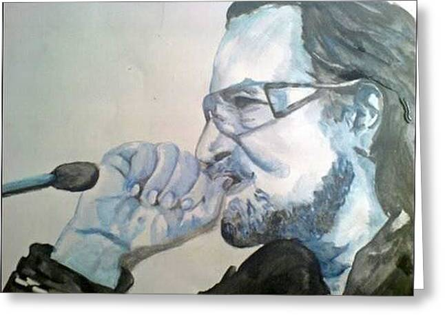 Bono In Blue Greeting Card by Pauline Murphy