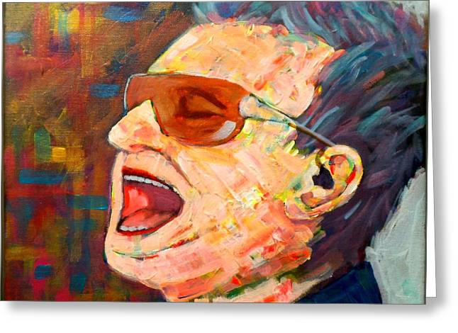 U2 Paintings Greeting Cards - Bono Greeting Card by Jim Mc Partlin