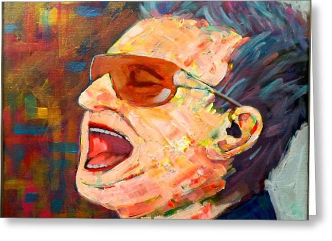 Pop Singer Greeting Cards - Bono Greeting Card by Jim Mc Partlin
