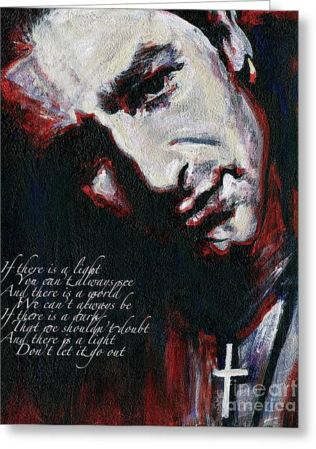 Tablets Greeting Cards - Bono - Man Behind the Songs Of Innocence Greeting Card by Tanya Filichkin