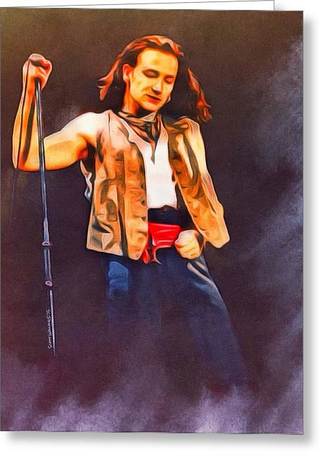 1960 Greeting Cards - Bono U2 Portrait Greeting Card by Scott Wallace